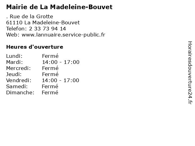 Mairie de La Madeleine-Bouvet à La Madeleine-Bouvet: adresse et heures d'ouverture