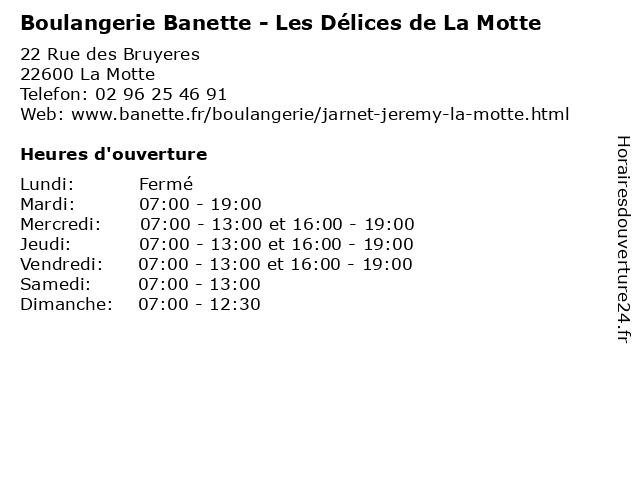 Boulangerie Banette à La Motte: adresse et heures d'ouverture