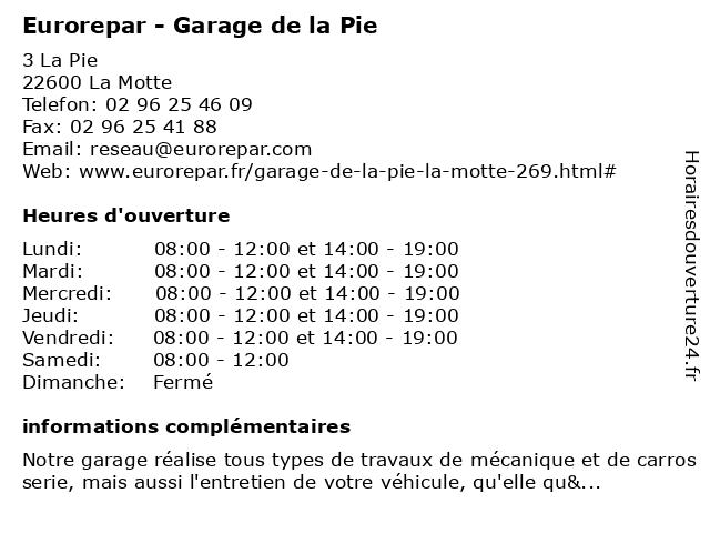 GARAGE DE LA PIE M C P C à La Motte: adresse et heures d'ouverture