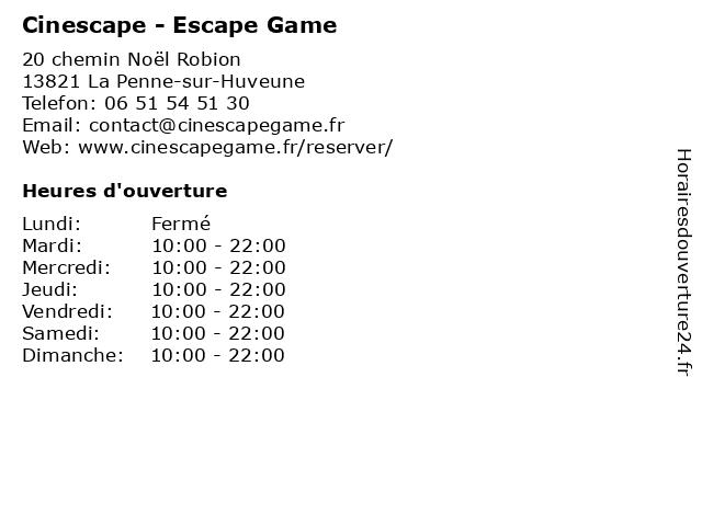 Cinescape - Escape Game à La Penne-sur-Huveune: adresse et heures d'ouverture