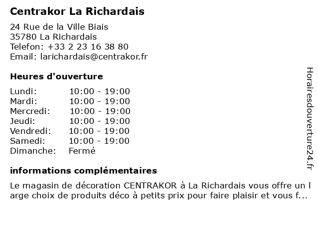 Centrakor La Richardais à La Richardais: adresse et heures d'ouverture