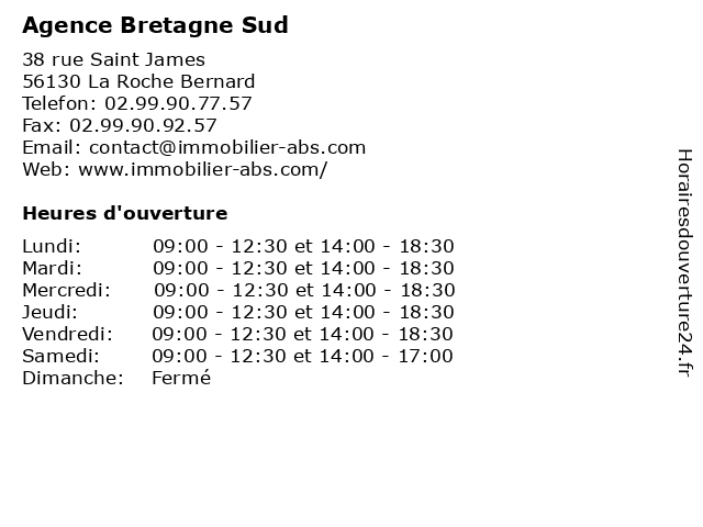 Agence Bretagne Sud à La Roche Bernard: adresse et heures d'ouverture
