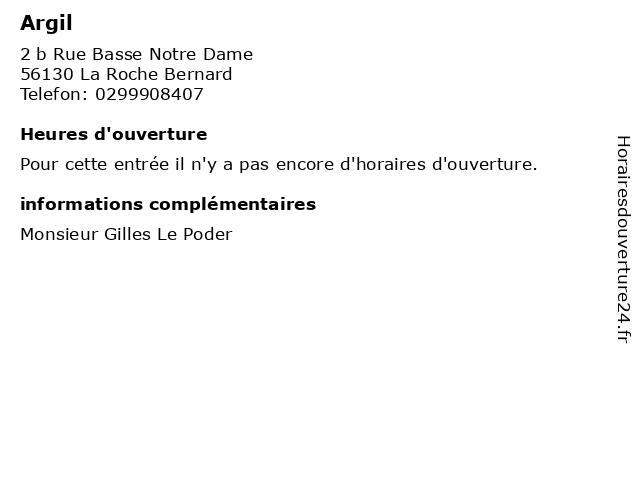 Argil à La Roche Bernard: adresse et heures d'ouverture