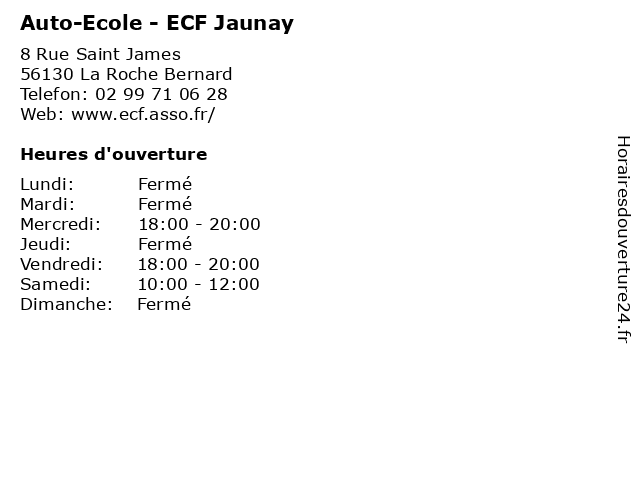 Auto-Ecole - ECF Jaunay à La Roche Bernard: adresse et heures d'ouverture