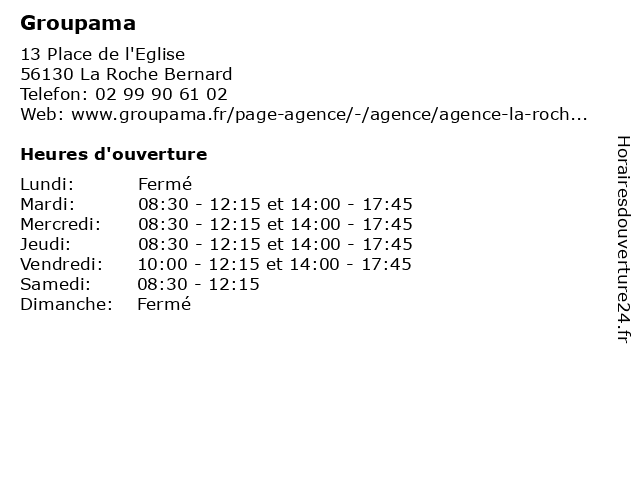 Groupama à La Roche Bernard: adresse et heures d'ouverture