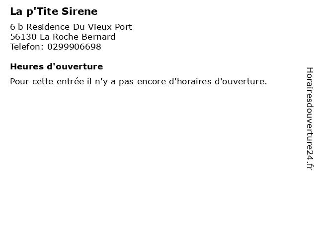 La p'Tite Sirene à La Roche Bernard: adresse et heures d'ouverture