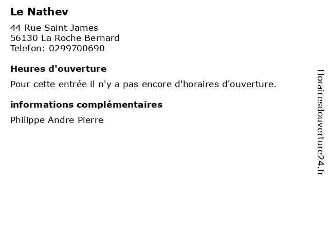 Le Nathev à La Roche Bernard: adresse et heures d'ouverture