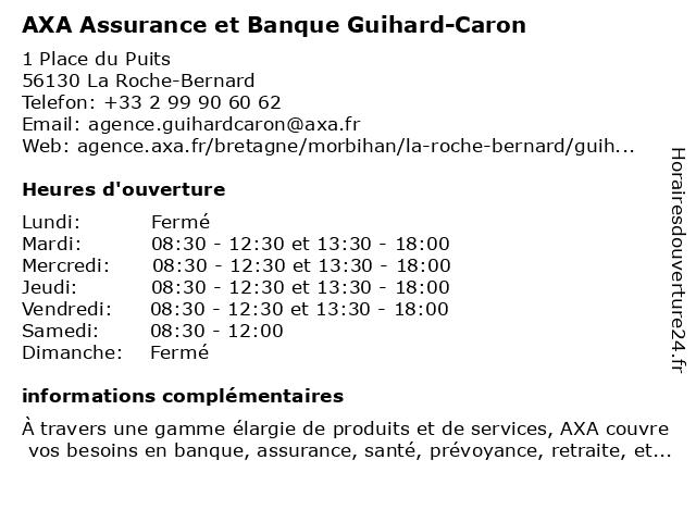 AXA Assurance GUIHARD-CARON à La Roche-Bernard: adresse et heures d'ouverture