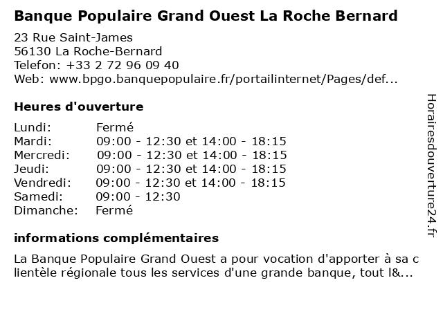Banque Populaire Grand Ouest La Roche Bernard à La Roche-Bernard: adresse et heures d'ouverture