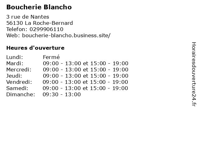 Boucherie Blancho à La Roche-Bernard: adresse et heures d'ouverture