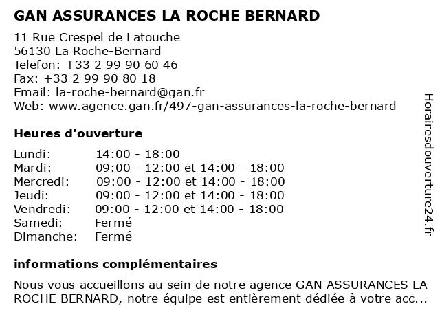 GAN ASSURANCES LA ROCHE BERNARD à La Roche-Bernard: adresse et heures d'ouverture