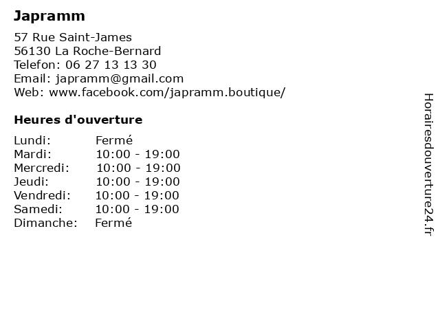 Japramm à La Roche-Bernard: adresse et heures d'ouverture