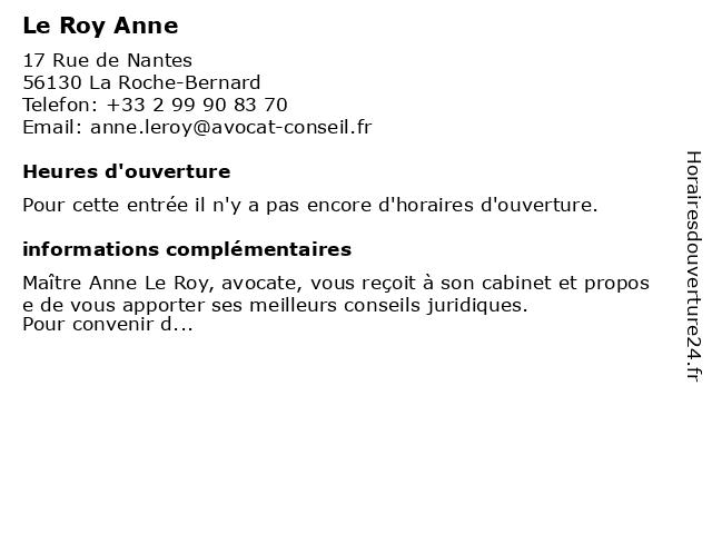 Le Roy Anne à La Roche-Bernard: adresse et heures d'ouverture