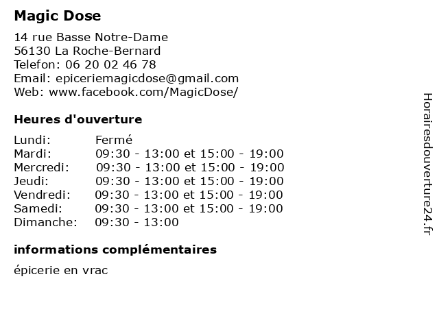 Magic Dose à La Roche-Bernard: adresse et heures d'ouverture