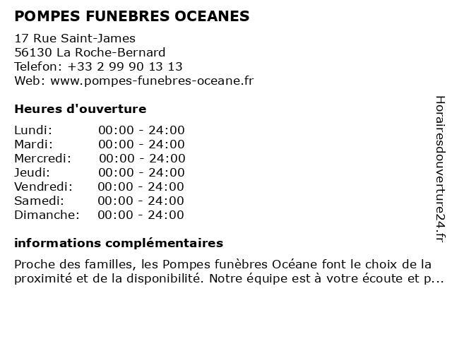 POMPES FUNEBRES OCEANES à La Roche-Bernard: adresse et heures d'ouverture