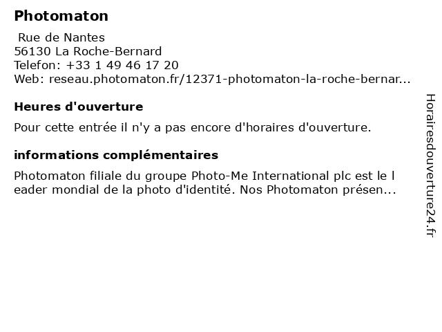 Photomaton à La Roche-Bernard: adresse et heures d'ouverture