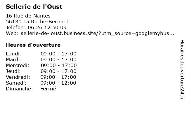 Sellerie de l'Oust à La Roche-Bernard: adresse et heures d'ouverture