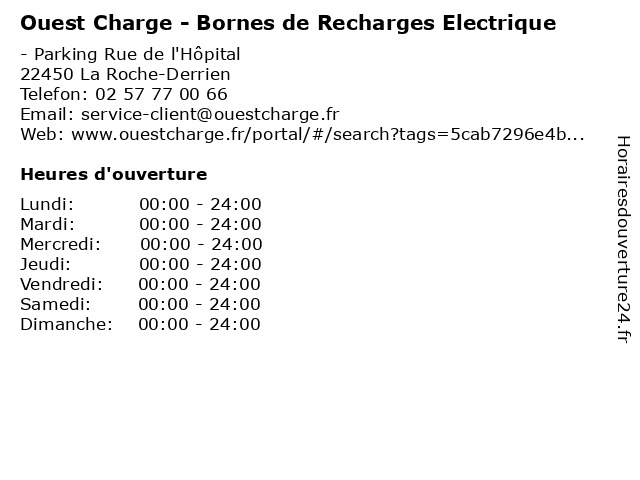 Ouest Charge - Bornes de Recharges Electrique à La Roche-Derrien: adresse et heures d'ouverture