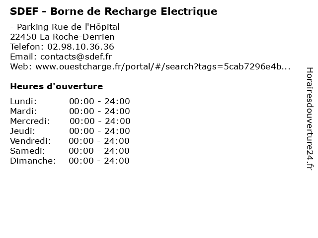 SDEF - Borne de Recharge Electrique à La Roche-Derrien: adresse et heures d'ouverture