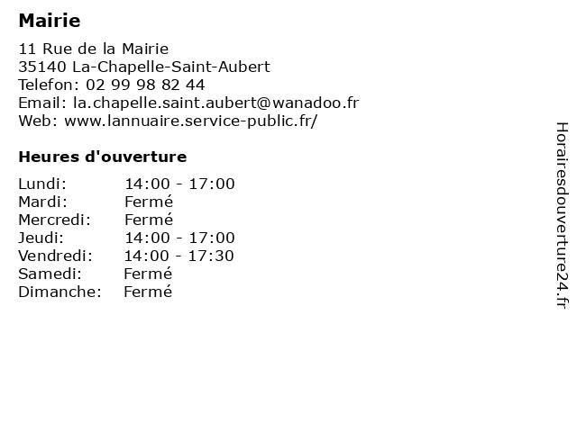 Mairie à La-Chapelle-Saint-Aubert: adresse et heures d'ouverture