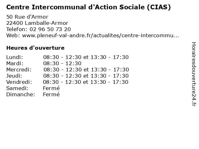 Centre Intercommunal d'Action Sociale (CIAS) à Lamballe-Armor: adresse et heures d'ouverture