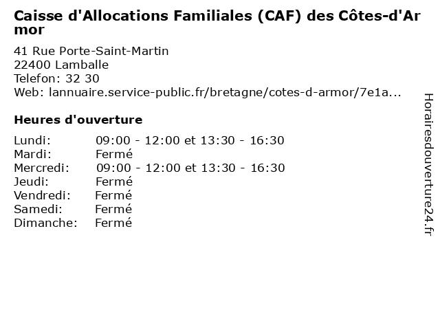 Caisse D'Allocations Familiales à Lamballe: adresse et heures d'ouverture
