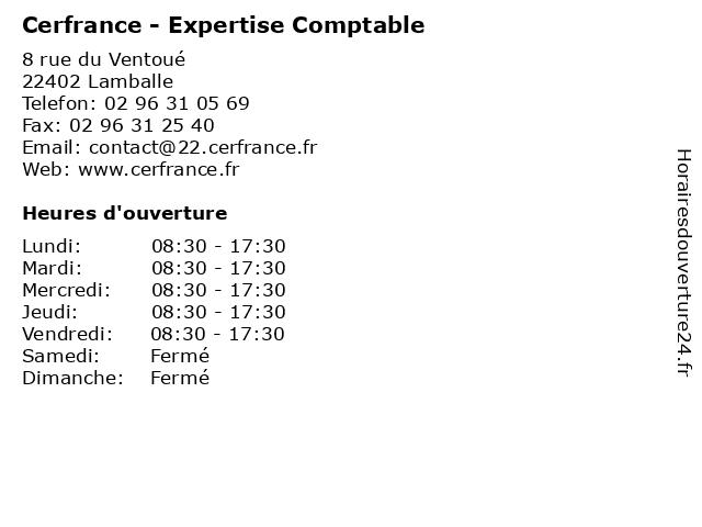 Cerfrance - Expertise Comptable à Lamballe: adresse et heures d'ouverture