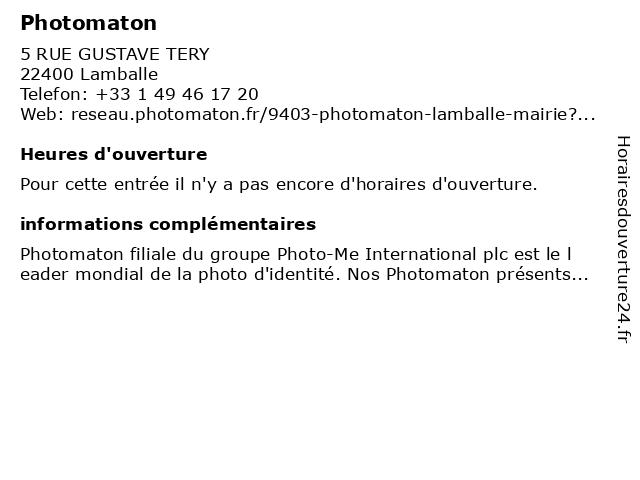 Photomaton à Lamballe: adresse et heures d'ouverture