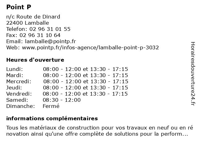 Point P à Lamballe: adresse et heures d'ouverture