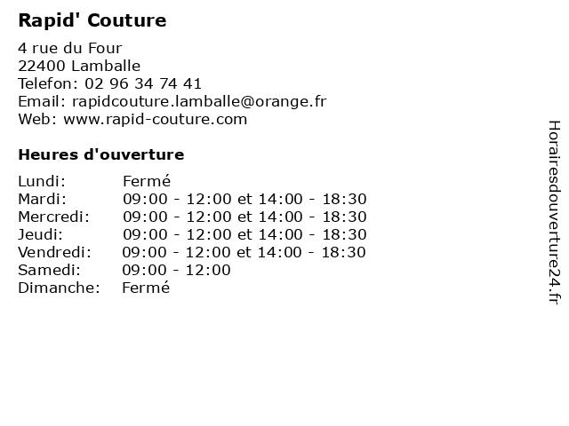 Rapid' Couture à Lamballe: adresse et heures d'ouverture