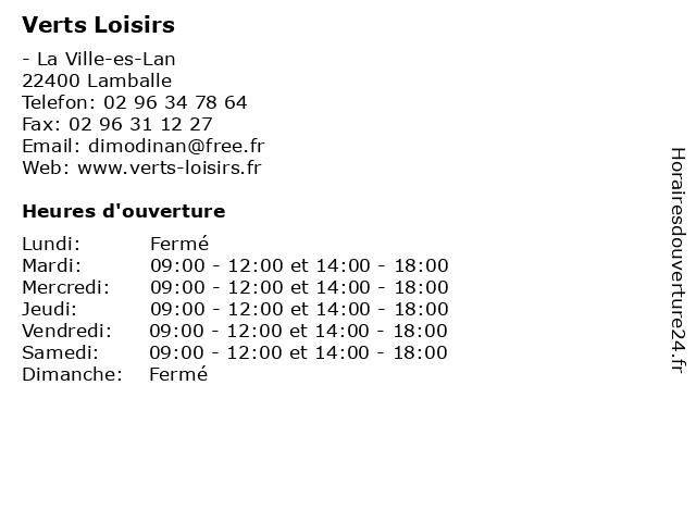 Verts Loisirs à Lamballe: adresse et heures d'ouverture