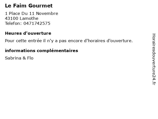 Le Faim Gourmet à Lamothe: adresse et heures d'ouverture