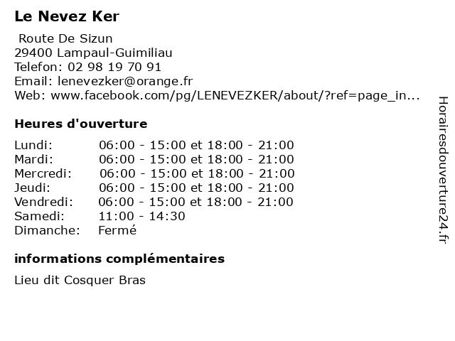 Le Nevez Ker à Lampaul-Guimiliau: adresse et heures d'ouverture