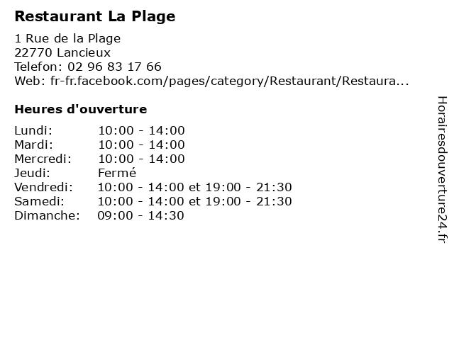 Restaurant La Plage à Lancieux: adresse et heures d'ouverture