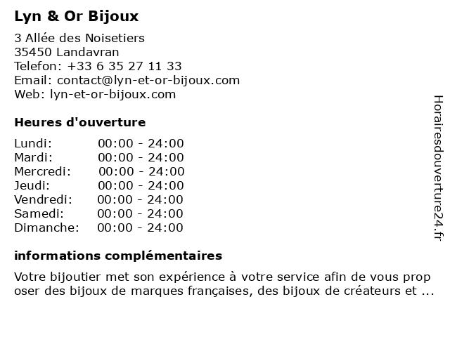 Lyn & Or Bijoux à Landavran: adresse et heures d'ouverture