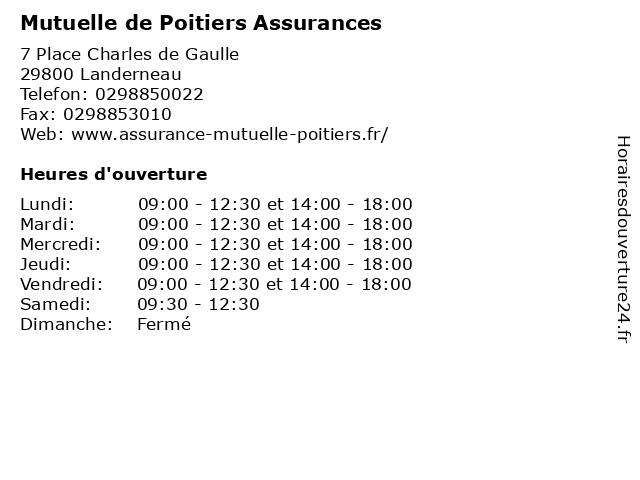 Mutuelle de Poitiers Assurances à Landerneau: adresse et heures d'ouverture