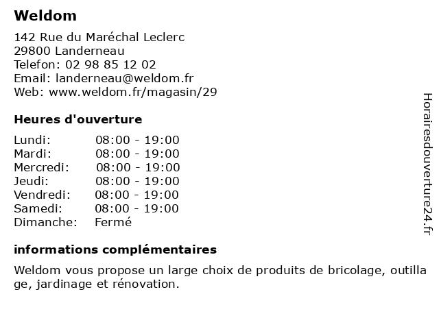 Weldom à Landerneau: adresse et heures d'ouverture
