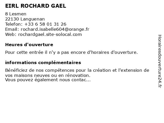 EIRL ROCHARD GAEL à Languenan: adresse et heures d'ouverture