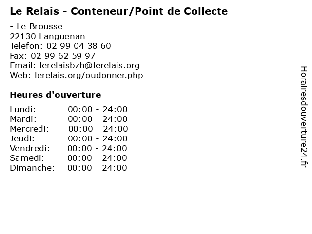 Le Relais - Conteneur/Point de Collecte à Languenan: adresse et heures d'ouverture