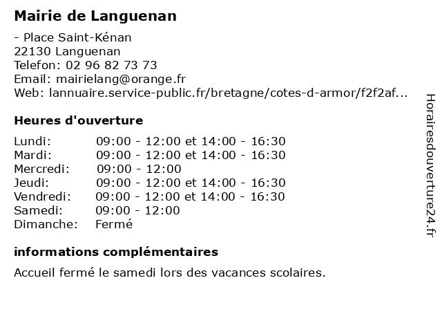 Mairie de Languenan à Languenan: adresse et heures d'ouverture