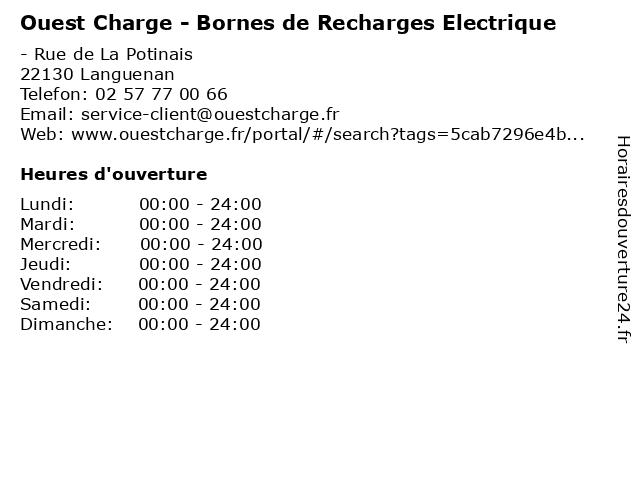 Ouest Charge - Bornes de Recharges Electrique à Languenan: adresse et heures d'ouverture