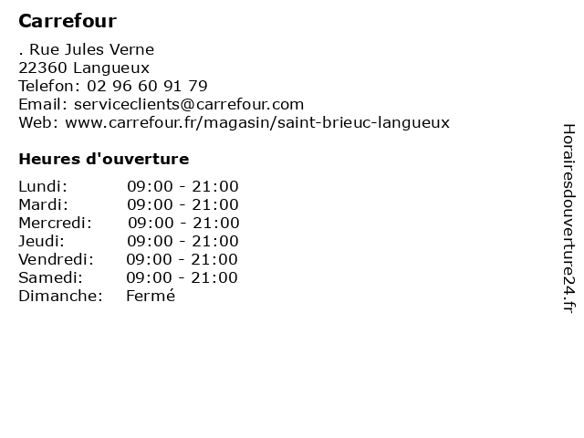 Carrefour à Langueux: adresse et heures d'ouverture