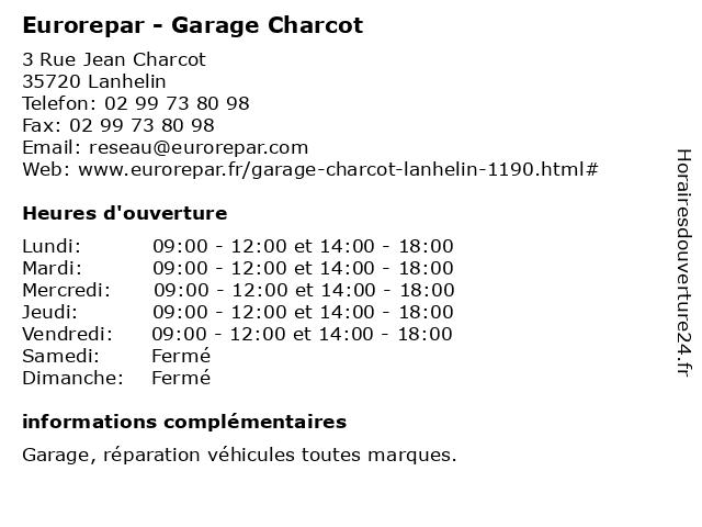 Garage Charcot - Euro Repar à Lanhelin: adresse et heures d'ouverture