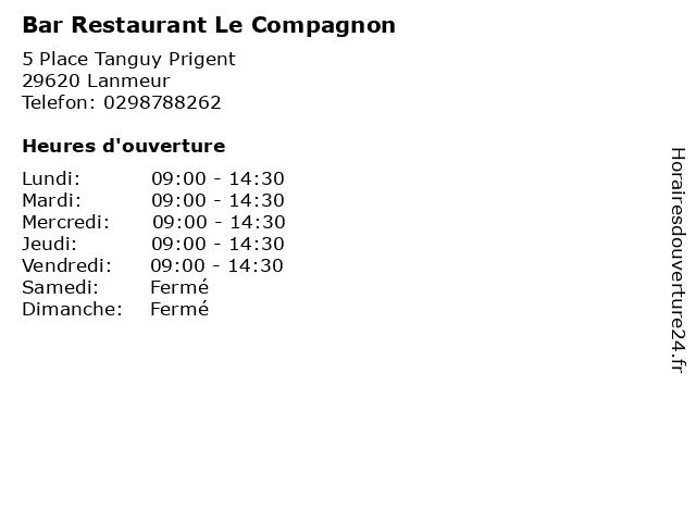Bar Restaurant Le Compagnon à Lanmeur: adresse et heures d'ouverture