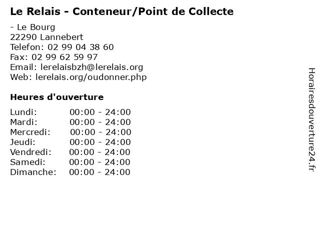 Le Relais - Conteneur/Point de Collecte à Lannebert: adresse et heures d'ouverture