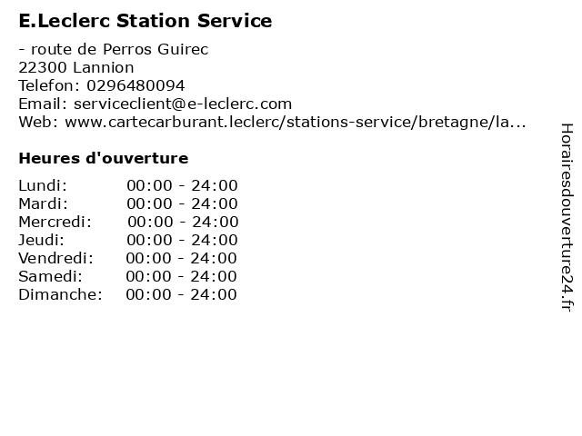 E.Leclerc Station Service à Lannion Cedex: adresse et heures d'ouverture