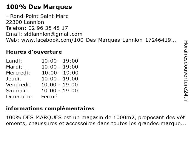 100% Des Marques à Lannion: adresse et heures d'ouverture