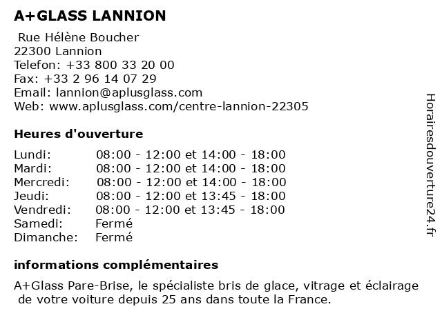 A+GLASS PARE BRISE LANNION à Lannion: adresse et heures d'ouverture