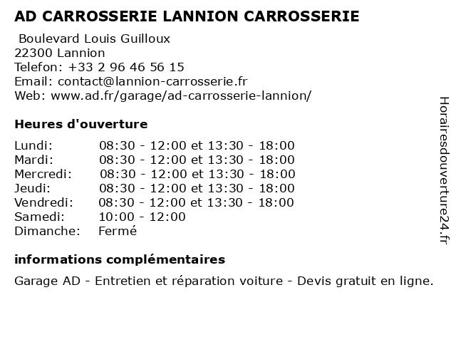 AD CARROSSERIE LANNION CARROSSERIE à Lannion: adresse et heures d'ouverture