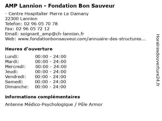 AMP Lannion - Fondation Bon Sauveur à Lannion: adresse et heures d'ouverture